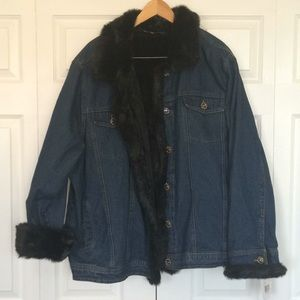 Marvin Richards denim and faux fur jacket 3X